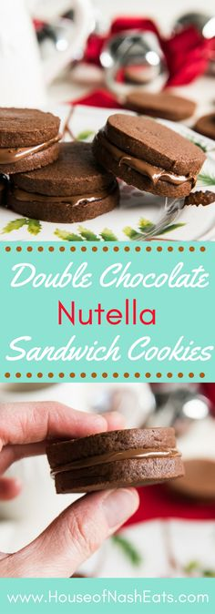 Two slice-and-bake homemade chocolate cookies sandwiched around a rich, delicious nutella filling make these Double Chocolate Nutella Sandwich Cookies as much fun to make as they are to eat! Perfect with a glass of milk! #Nutella #Chocolate #Cookies #Christmas