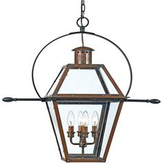 From the Charleston Copper Lantern Collection, this piece gives you the historic look of gas lighting, but without the hassle of a propane feed. It is all electric, solid copper and hand riveted, giving your home the romantic, reproduction style of antique gas lights still popular today on many of the charming homes in New Orleans and Charleston.