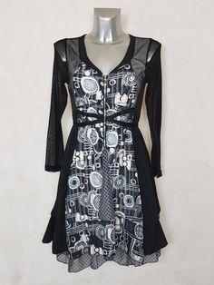 439453e01d52  Robe femme  évasée motif  abstrait noir et blanc manches longues en  résille taille