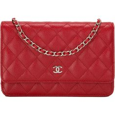 Pre-Owned Chanel Red Quilted Caviar Wallet On Chain (WOC) ($2,725) ❤ liked on Polyvore featuring bags, red, leather bags, genuine leather bag, red bag, snap bag and strap bag