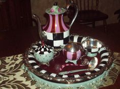 Custom Hand Painted Silver Tea Set by paintingbymichele on Etsy, $145.00