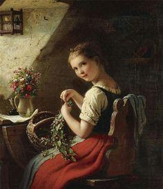 Making A Bouquet ~ Johann Georg Meyer von Bremen ~ (German 1813-1886)