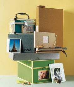 Boxes with photo labels are great for single-subject sorting (one for each child, say)
