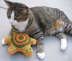 15+ #Crochet Patterns for Animals - Turtle-shaped crochet pet toy free pattern from Kathy North who also has lots of other crochet patterns for pets in her KN Designs Ravelry store