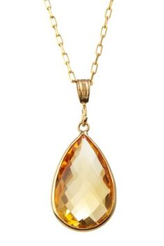 14K Yellow Gold Pear-Shaped Citrine Pendant Necklace