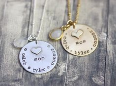 Hand engraved #Momnecklace, name necklace for mom, mommy jewelry, children names, hand stamped charms for mom, gold and silver mom necklace by InspiredByBronx on Etsy https://www.etsy.com/listing/468324455/hand-engraved-mom-necklace-name-necklace