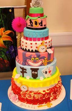 Giant Alice in wonderland mad hatters birthday cake