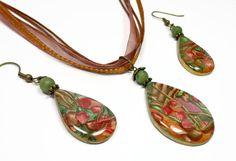 Polymer clay Mica Shift Woodland Pendant Necklace by artist Sherri Kellberg $16.00 earrings $12.00