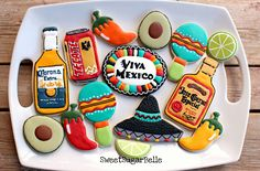 Throwing a Cinco de Mayo party? Here are some great Cinco de Mayo treat ideas to spice things up. Be sure to also check out our other Cinco de Mayo Party Ideas. Fancy Cookies, Iced Cookies, Cute Cookies, Cupcake Cookies, Sugar Cookies, Cupcakes, Baking Cookies, Birthday Cookies, Mexican Birthday Parties