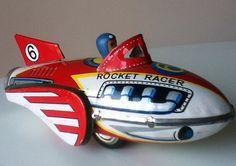 Rocket Racer Vintage Tin Toy - Flashes of Flash Gordon. Time Spent Long Ago Playing at Space Travel. Vintage Space, Vintage Tins, Metal Toys, Tin Toys, Toy Rocket, Rocket Ships, Space Toys, Electronic Toys, Vintage Games