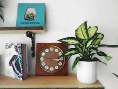 My living edge shelf with an old USSR clock. Planter Pots, Shelf, Clock, Home Decor, Shelves, Room Decor, Clocks, Home Interior Design, Shelving