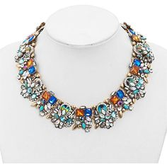 LilyJewelry Colorful Flower Crystal Chunky Statement Necklace