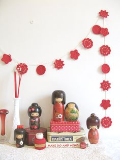 crochet wedding garland... Mary - retro red flowers - Ready to ship - by Emma Lamb