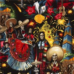 black Alexander Henry fabric with skeletons celebrating - Skulls Fabric - Fabric - kawaii shop modeS4u