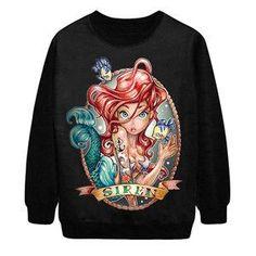 Digital Print Gothic Sweatshirts Beauty Girl Punk Rock Loose Women Hoodies Moleton Feminino Fashion Galaxy Sportswear SM6ST027