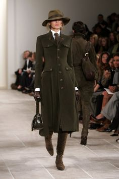A model walks the runway at the Ralph Lauren Fall 2006 fashion show at Skylight Studios during Olympus Fashion Week on February 10, 2006 in ...