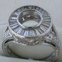 Antique Deco Platinum Ring Setting