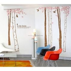 7 Birch Tree And Birds In The Forest Wall Decals