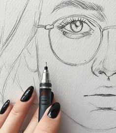 ▷ 1001 + ideas and inspirations for pictures to draw- ▷ 1001 + Ideen und Inspirationen für Bilder zum Zeichnen woman with glasses, sketching face, drawing portreit with pencil, long black nails - Drawing Tips, Drawing Sketches, Basic Drawing, Drawing Ideas, Pencil Art, Pencil Drawings, Long Black Nails, Rik Lee, Animals Tattoo