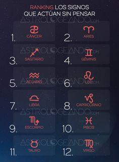 Ranking: Los signos que actúan sin pensar #Astrología #Zodiaco #Astrologeando