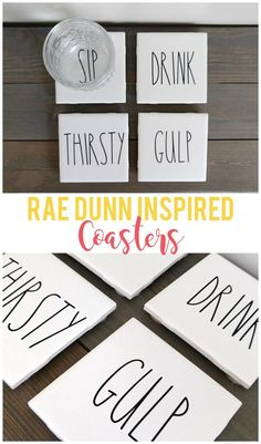 DIY Popsicle Stick Coasters - Busy Moms HelperDIY Popsicle Stick Coasters / a fun craft for adults, kids, teens or anyone! craft diy paint popsiclestick craftstick DIY Rae Dunn Inspired Coasters - Sunshine and MunchkinsThese Tile Crafts, Vinyl Crafts, Vinyl Projects, Tile Projects, How To Make Coasters, Diy Coasters, Photo Tile Coasters, Making Coasters, Homemade Coasters