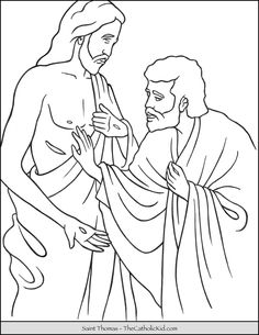 Saint Thomas the Apostle Coloring Page. Sunday School Crafts For Kids, Sunday School Activities, Thomas The Apostle, St Thomas, Jesus Coloring Pages, Coloring Pages For Kids, Sunday School Coloring Pages, Doubting Thomas, Christian Preschool