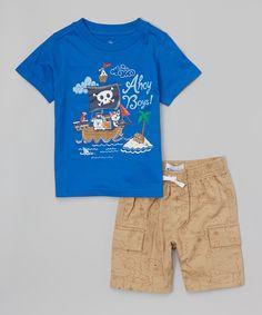 Kids Headquarters Blue Ahoy Boys Tee & Cargo Shorts - Infant & Toddler   zulily