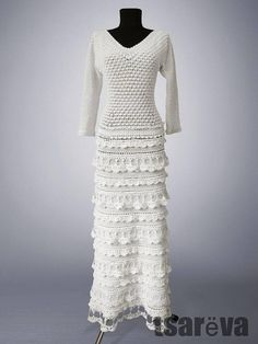 Crochet dress Diana vintage-style dress evening dress. White