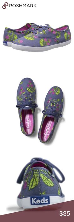 Keds Fruit Basket Raspberry Sneakers The perfect picnic calls for freshly squeezed style.  Product Features: Printed twill upper Two sets of laces: tonal & white Soft breathable lining Cushioned insole Flexible, textured rubber outsole  Worn once! Faint wear at soles. Still in excellent shape!  Make me an offer! Keds Shoes Sneakers
