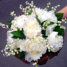 Peony lily of the valley wedding bouquet