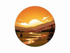 Sunset & River illustration by Afsal #Design Popular #Dribbble #shots