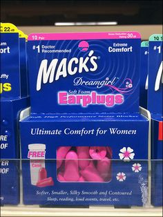 """Browse and buy the """"Bonus Pack,"""" """"Value Pack."""" or """"DreamGirl"""" variant of Mack's® Earplugs color-coded Yellow, Red and Pink at the shelf-edge for convenience. The major color emphasis, however, is t. Hearing Impaired, Hearing Aids, Divider Design, Ear Plugs, Red And Pink, Shelf, Packaging, Coding, Retail"""