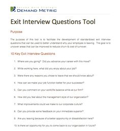 Exit Interview Form | Business Forms | Pinterest | Rubrics