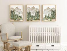 Woodland Nursery Prints, Forest Nursery, Mountain Nursery, Woodland Themed Nursery, Woodsy Nursery, Nature Themed Nursery, Mountain Art, Boy Nursery Themes, Nursery Room