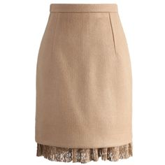 Chicwish Tan Wool-blend Skirt with Pleated Lace Hem ($45) ❤ liked on Polyvore featuring skirts, brown, lace skirt, brown pleated skirt, tan pencil skirt, knee length pencil skirt and beige pencil skirt