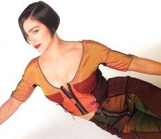 1990 photo of Madonna with an ultra-short, brunette bob by Francesco Scavullo.