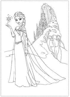 Elsa Coloring Pages Castle | Elsa and Her Ice Castle Frozen Coloring Pages Picture