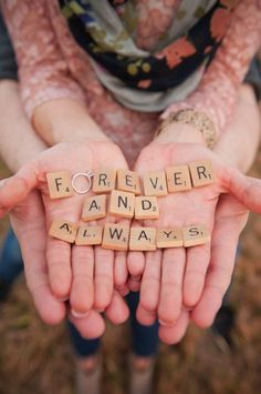 wedding picture prop ideas love in scrabble - write a meaningful message that means something to them. can do several different versions