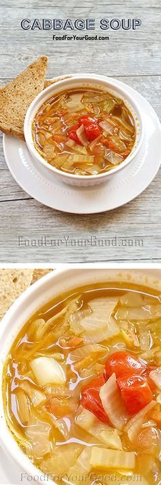 Look no further for a full of flavor Cabbage Soup recipe that you can eat as much as you want. This soup is just what you have been searching for ... | FoodForYourGood.com #cabbage_soup