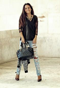 Black lace blouse <3
