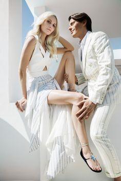 A campaign image for the Poppy Delevingne X Aquazzura collection