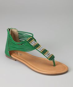 Green Summer sandals with gold bling on the shoes for daytime. Not a fan of totally flat shoes and too natural looking.