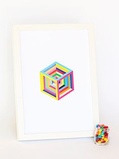 Inner Cube / Art Print A4 Geometric Modern by magpieandpitta, $25.00