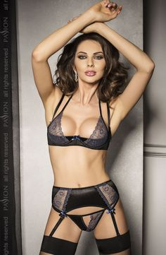 Passion Charlotte Lingerie Set £38.99  Beautiful half bra suspender set in black with embroidered lace panels. #passion #lingerie