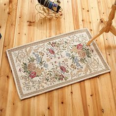 SimpleLife4U Retro Victoria Style Doormat Jacquard Floral Bathroom Mat Kitchen Entrance Rug Indoor Outdoor 15x23 Inch ** Want additional info? Click on the image.