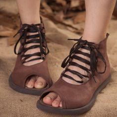 2014 automne d'été en cuir sandales chaussures à la main dimanche femmes chaussures à bout ouvert en cuir véritable talon plat chaussures de sport