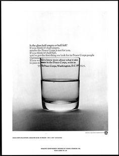 Glass Half Full - Vintage Peace Corps Print Public Service Announcement.  #Peace Corps