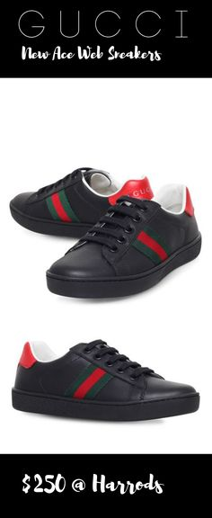 f24b45f845f GUCCI New Ace Web Sneakers Available Colors  Black Available Sizes  Eu 27