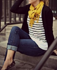 Mustard scarf, black cardigan, black and white striped tee, cropped jeans and leopard skin flats :)