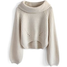 Chicwish Whimming Turtleneck Sweater in Beige (64 AUD) ❤ liked on Polyvore featuring tops, sweaters, jumpers, shirts, beige, white crop top, white cropped sweater, white cotton shirt, cropped sweater and vintage sweater